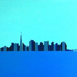 New York : Manhattan vue de Liberty Island