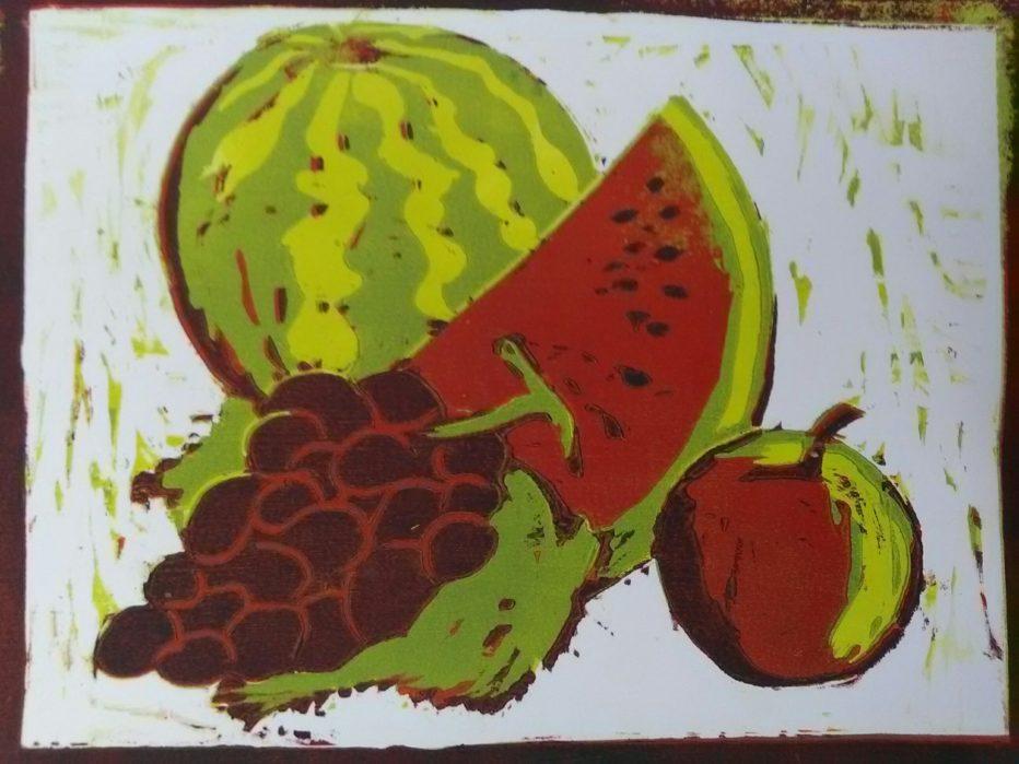 Pomme, melon, raisin