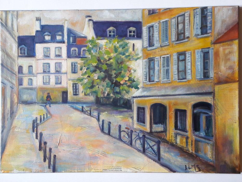 Autour de La Mouffe  Collage papiers + Huile sur carton Toilé 10 P ( 38 x 55)