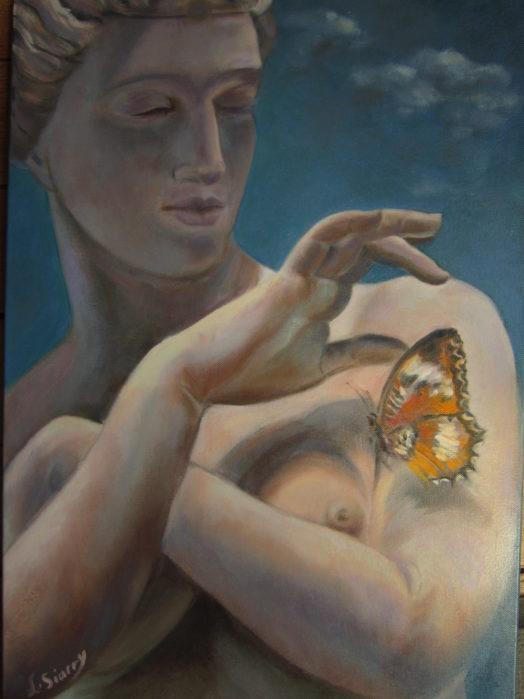 Psyché au papillon, Huile sur toile 10P  (55 x 38)