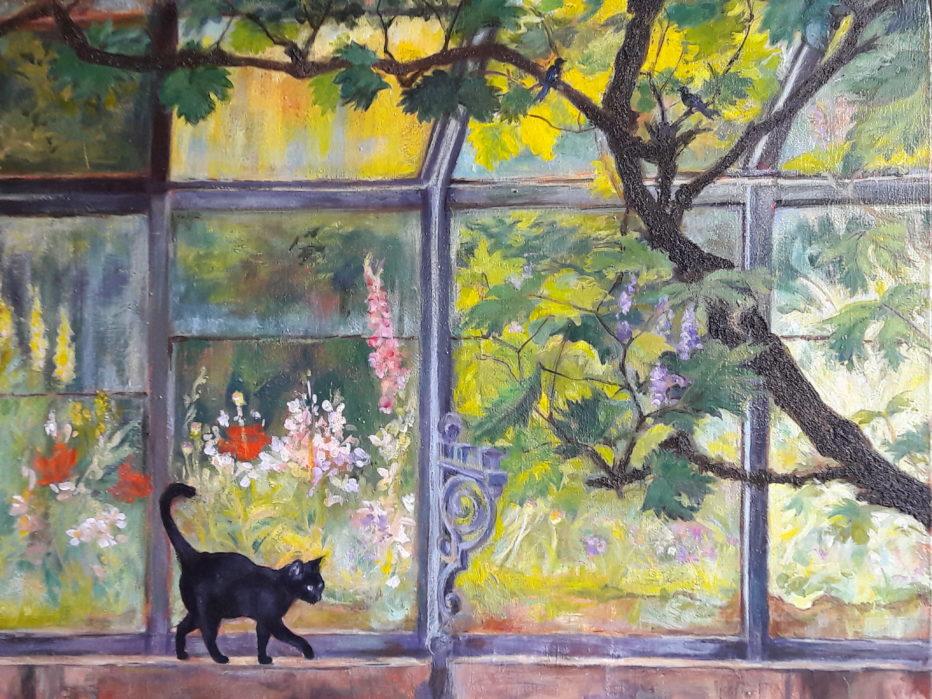 Dans la serre- Acrylique sur toile 65 x 50