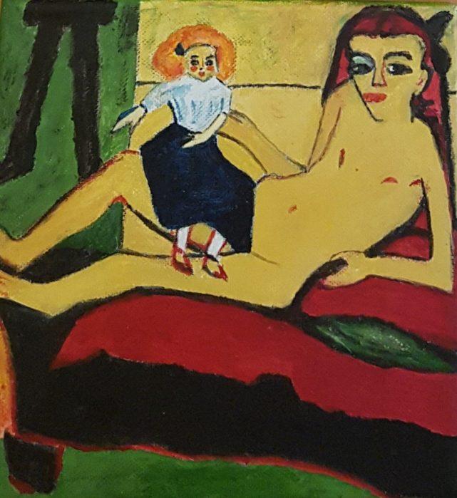 Fränzi à la poupée Acrylique (d'après E. Heckel)