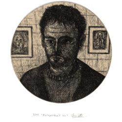 Autoportrait 44 – Eau-forte sur chine collé – 15 x 15 cm – Mai 2019