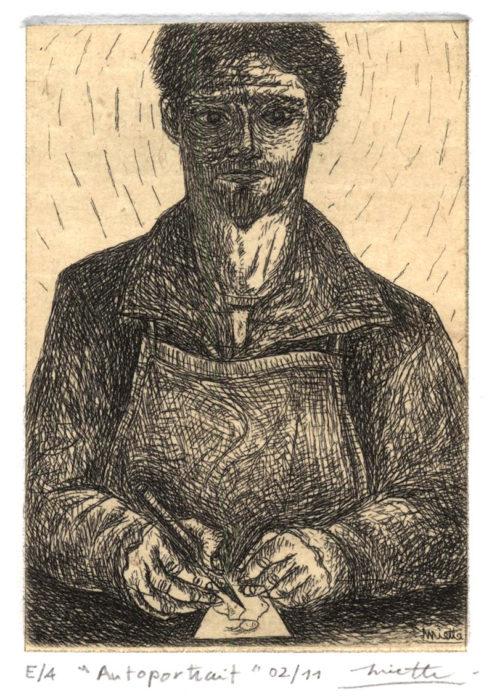 Autoportrait – Eau-forte sur chine appliqué – 7 x 10 cm – Février 2011