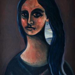 Dans la chevelure – Huile sur toile – 73 x 54 cm – Octobre 2020