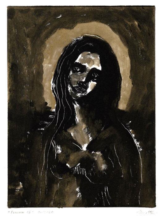 Femme 16 Monotype – Monotype – 15 x 20 cm – Avril 2020