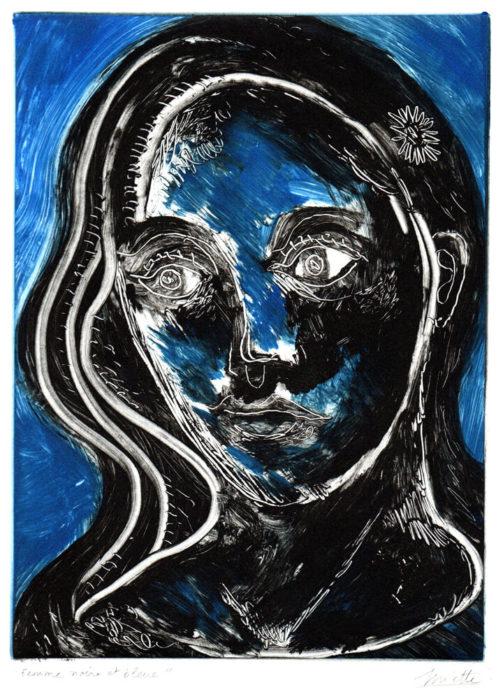 Femme noire et bleue – Monotype – 15 x 20 cm – Décembre 2020