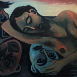 Les masques – Huile sur toile – 100 x 73 cm – Mars 2018