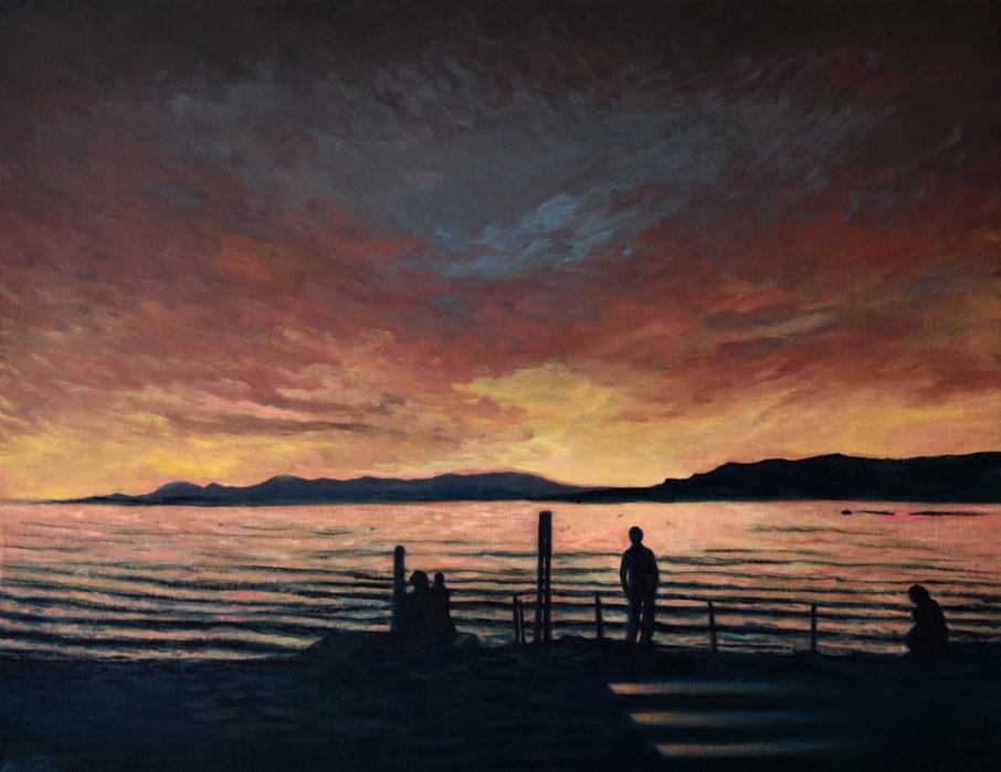 Les ondes soleil couchant – Huile sur toile – 65 x 50 cm – Février 2020