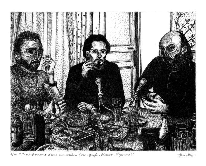 Trois hommes dans un salon (Van Gogh, Picasso, Cézanne) – Eau-forte – 15 x 20 cm – Février 2017