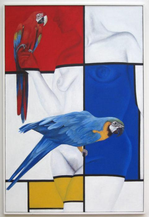 librement d'après Mondrian, aux aras (2012) huile sur toile, 120 x 80 cm plus cadre