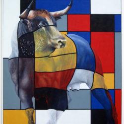 librement d'après Mondrian, au taureau (2015) huile sur toile, 146 x 114 cm plus cadre