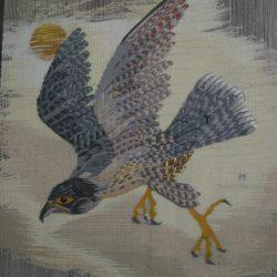 2008-Faucon pèlerin en vol devant le soleil 20x20cm