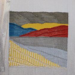 2018-Petit paysage abstrait 2019 Haute lice. 7 fils:cm. Coton, rayonne. 13x12cm