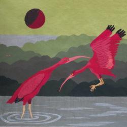 2020- 2 ibis rouges 6 fils au cm: Laine,coton 100x95cm
