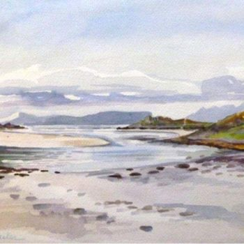 Eigg  from the beach of Morar at low tide -«l'Ile d'Eigg vue de la plage de Morar»(Highlands )