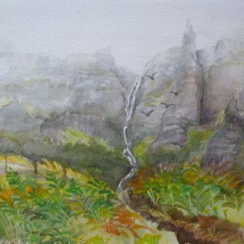 «La cascade est dans la brume» ile d'Eigg (hebrides)