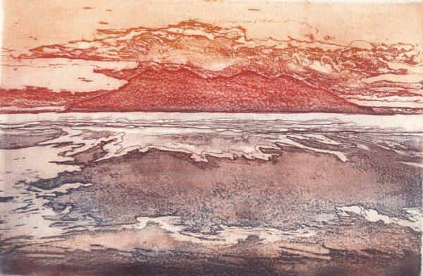 coucher de soleil rouge sur l'ile de Rhum (Hébrides)