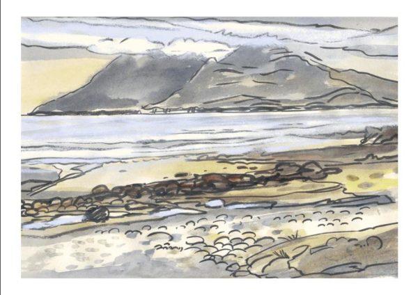 gray day on singing sand – «Le temps est gris aujourd'hui sur la plage de Singing Sand» (vue sur l'ile de Rhum,Hebides))