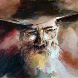 Aquarelle – L'homme au chapeau