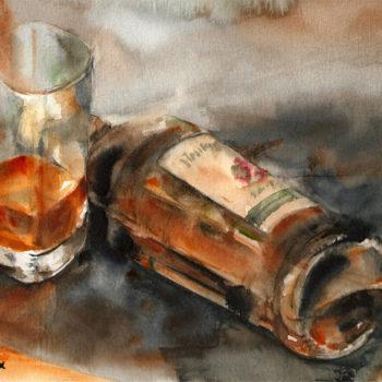 Aquarelle – Vapeurs d'alcool – Flacon couché