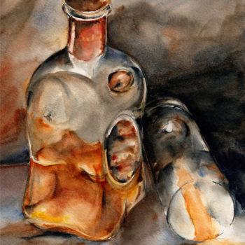 Aquarelle – Vapeurs d'alcool – Flacon debout